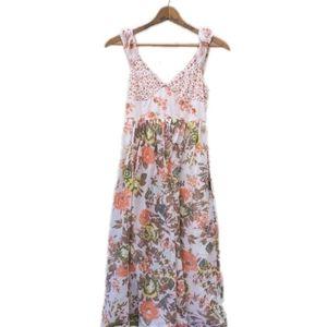 Free People floral sleeveless midi dress